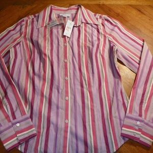 Ann Taylor Loft Striped Button Down Shirt 6